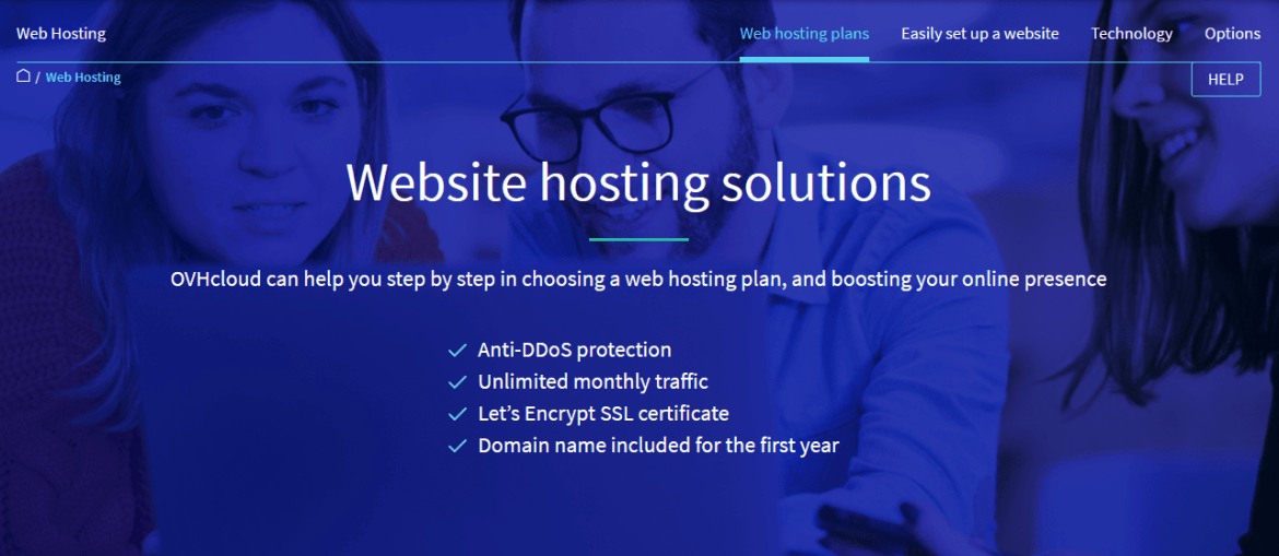 Screen capture of OVHcloud's web hosting features page