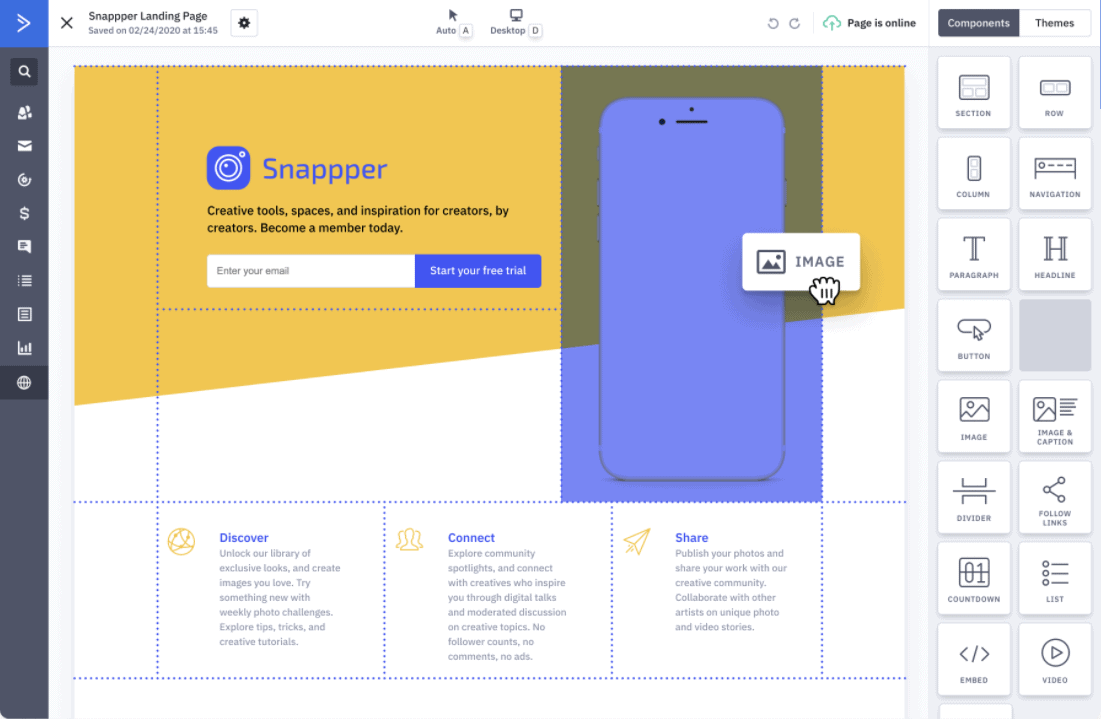 ActiveCampaign's landing page builder