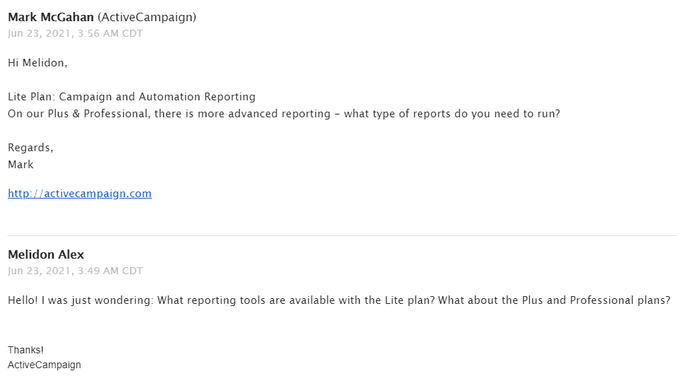 contacting ActiveCampaign's email support