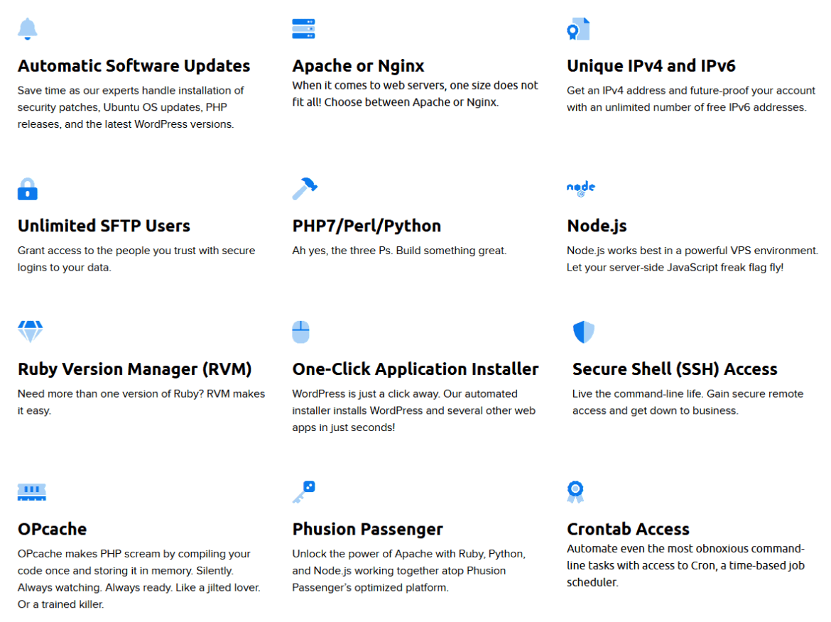 Details of DreamHost's VPS plan features