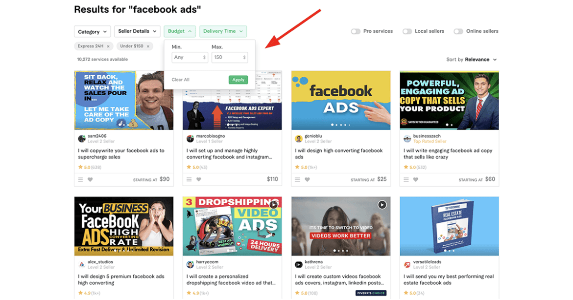 Fiverr Facebook Ads experts with search filter