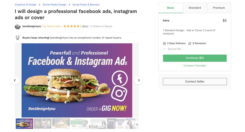Fiverr Facebook Ads gig page