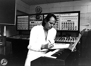The WDR Electronic Studio also housed an EMS Synthi 100 modular synthesizer; this photo shows the composer during the production of his piece <em>Sirius</em>.