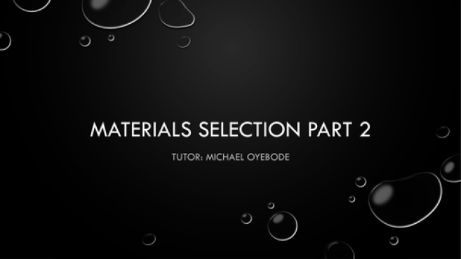 Level 3 Materials Selection