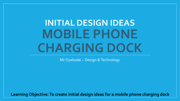 initial design ideas - mobile phone charging dock