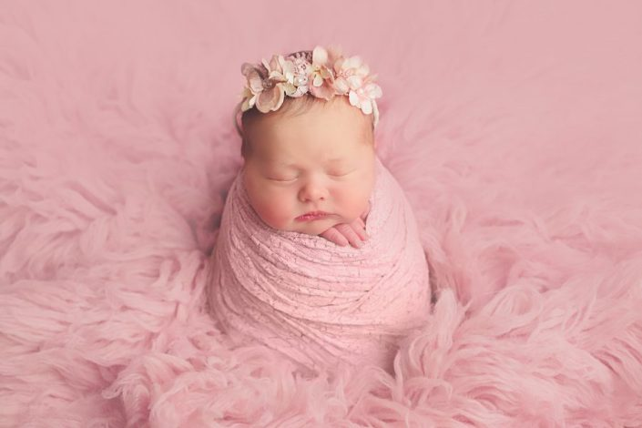 Baby Photo Shoot Glasgow - baby girl on pink flokati