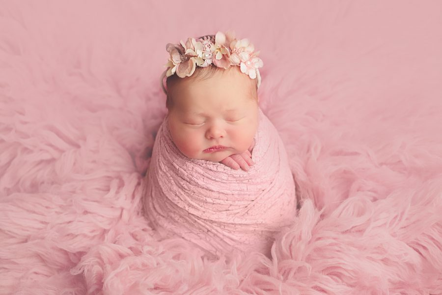 Newborn Photo Shoot Glasgow - baby girl in pink
