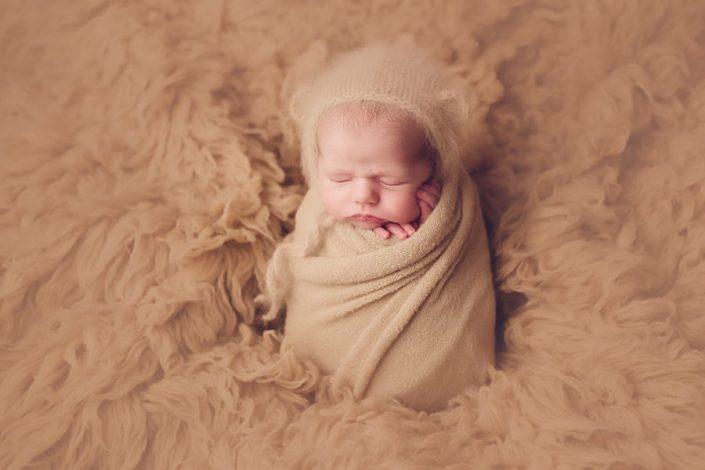 Newborn Photo Shoot Glasgow - baby boy with bear bonnet