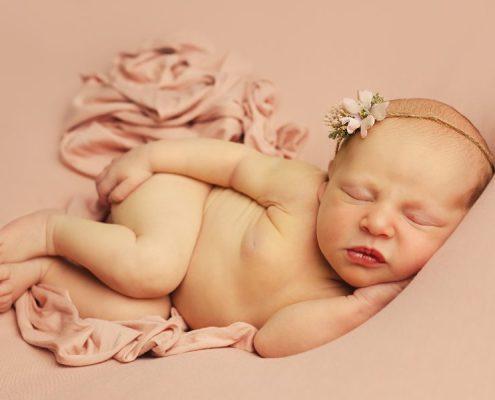 Baby Photographer Glasgow, Bishopton, Paisley - baby girl sleeping on pink blanket