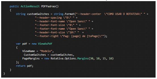 No exemplo temos a customização através de string.