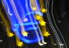 Die Euro-Skulptur an der Europäischen Zentralbank (EZB) in Frankfurt (Hessen) ist am 10.04.2013 mit einem Verwischeffekt aufgenommen.