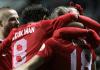 Die türkischen Nationalspieler jubeln über den 1:0-Führungstreffer von Umut Bulut im Spiel gegen Estland.