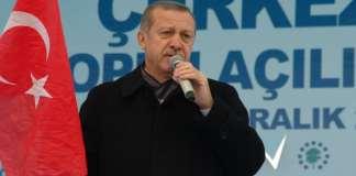 Der türkische Ministerpräsident hält eine türkische Nationalfahne in der Hand.