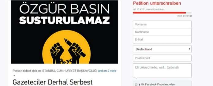 Namhafte türkische Journalisten fordern die Freilassung ihrer am Sonntag verhafteten Kollegen.