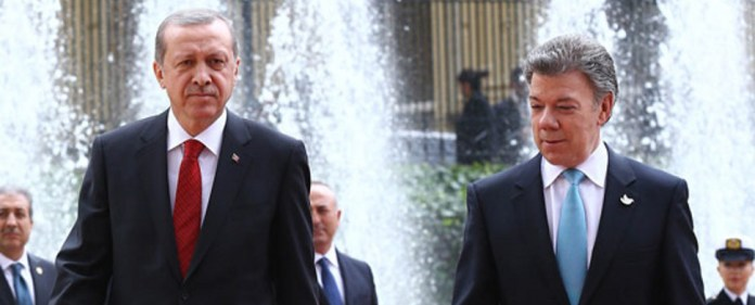 Erdogan mit Juan Manuel Santos Calderon.