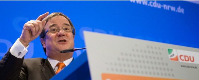 Der CDU-Landesvorsitzende Armin Laschet spricht am 18.02.2015 beim Politischen Aschermittwoch seiner Partei in Lennestadt (Nordrhein-Westfalen).