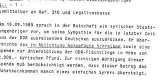 Syrer spendete 1989 an DDR-Flüchtlinge.