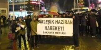 Melike Kara verließt Erklärung in Adapazarı