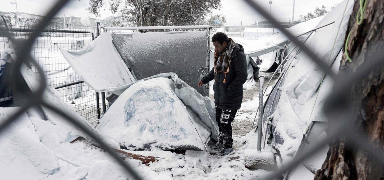 Flüchtling im Lager Moria auf Lesbos