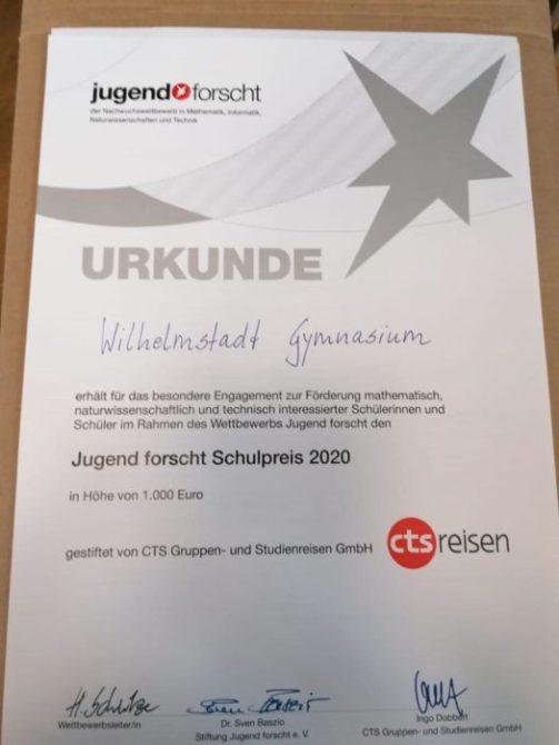 Wilhelmstadtschulen Berlin bekommt Sonderpreis.