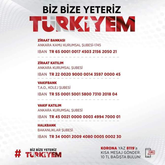 Türkei Spendenkampagne bizbizeyeteriz.
