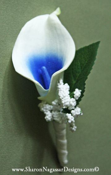 White Blue Center Calla Lily By Sharon Nagassar Designs