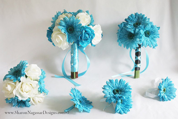 Aqua Blue Black White By Sharon Nagassar Designs On Zibbet