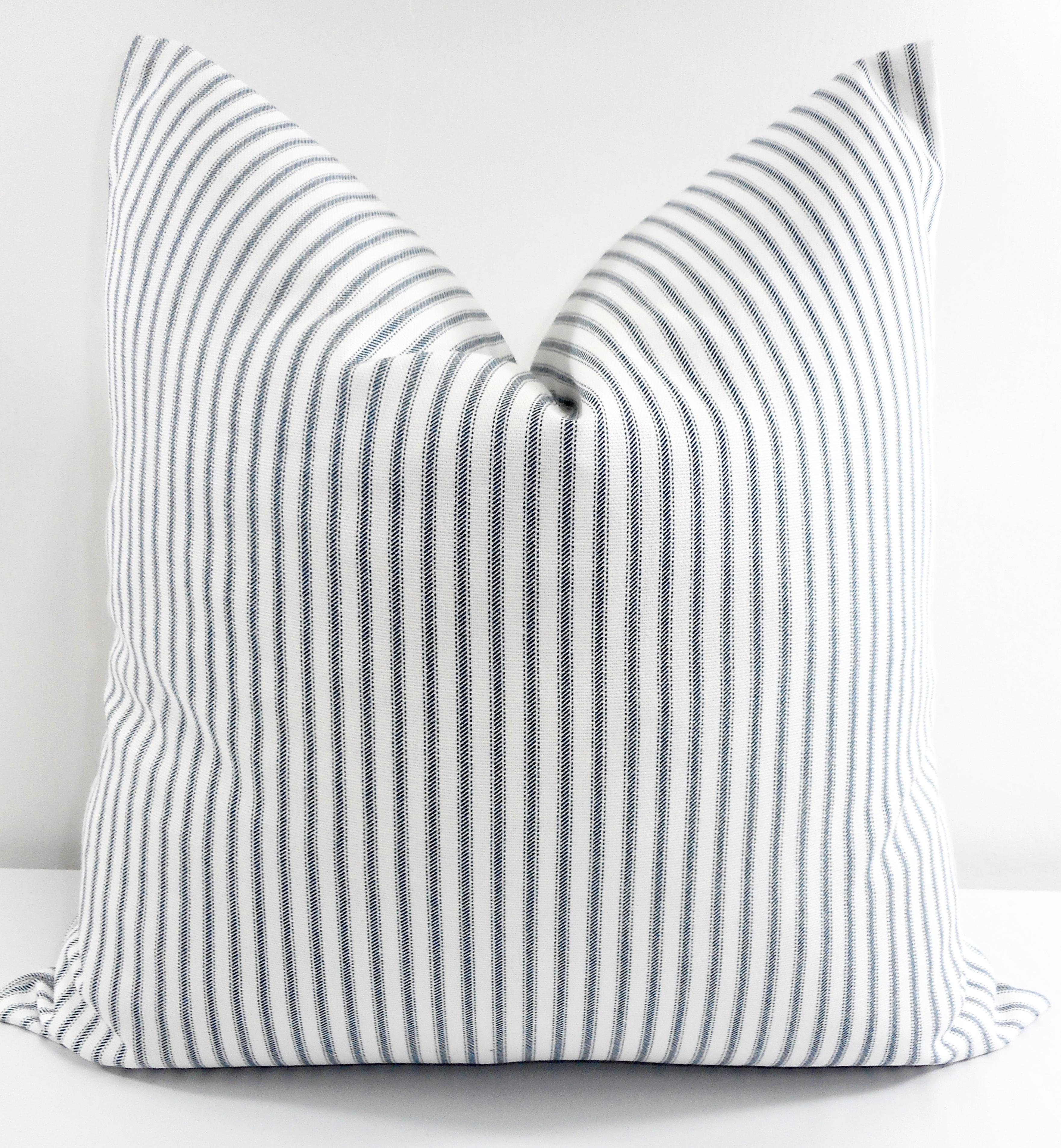 blue classic stripe pillow cover premier blue white stripe print sofa pillow cover throw pillow cover euro pillow case select size