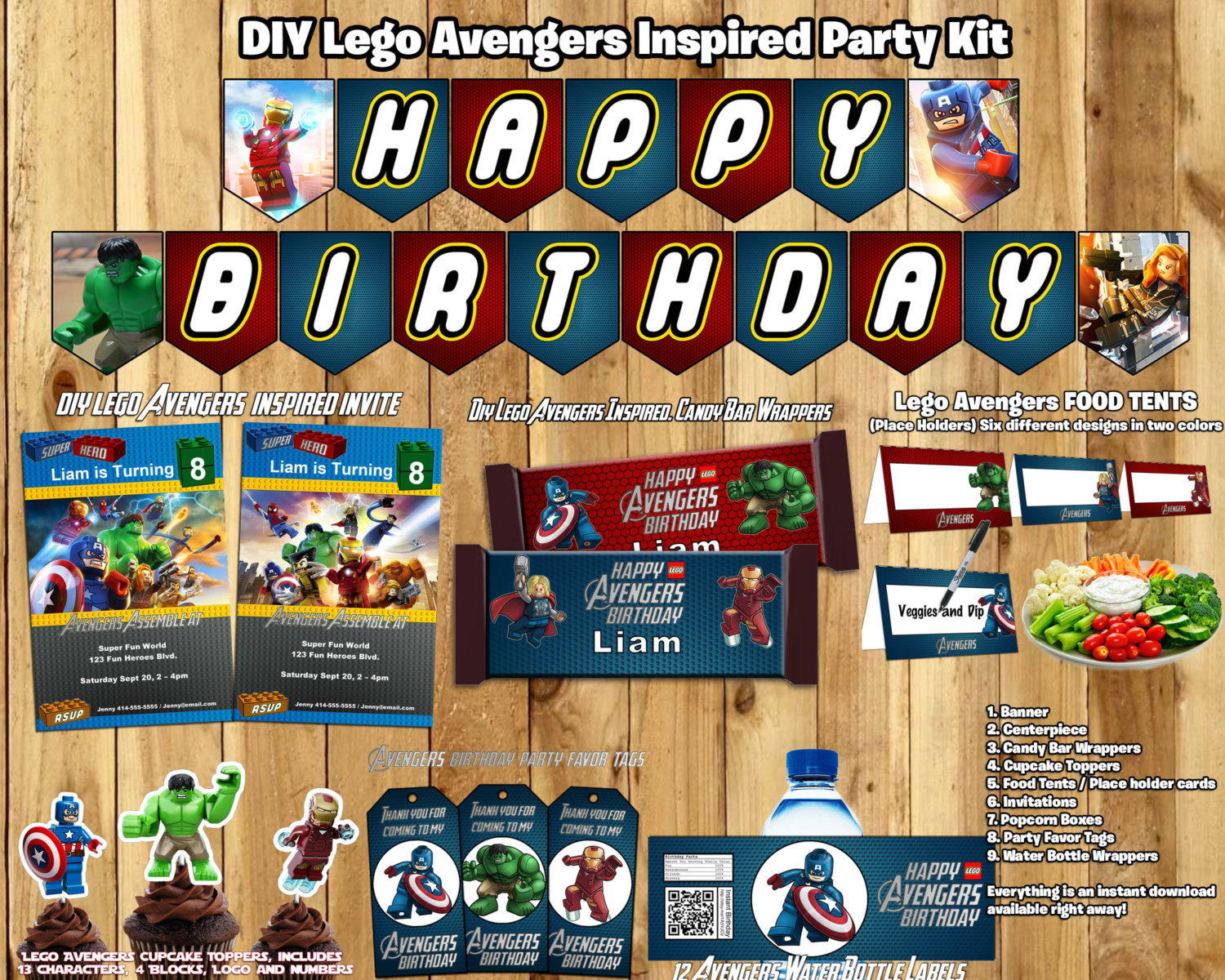 lego avengers birthday party kit download banner invite cupcake toppers favor tags bottle labels centerpiece lego avengers birthday party
