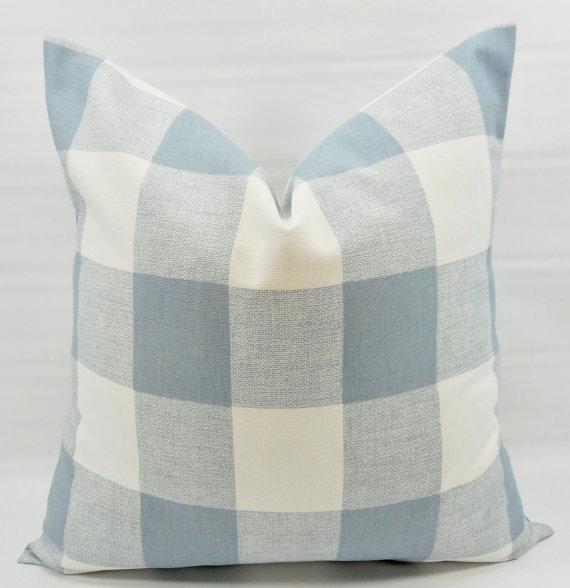 farmhouse pillow cover cashmere blue buffalo check pillow cover sofa pillow cover throw pillow cover euro pillow case