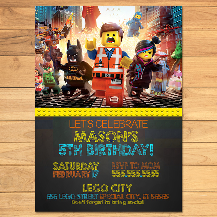 lego birthday invitation chalkboard yellow orange lego movie invite lego birthday lego printables