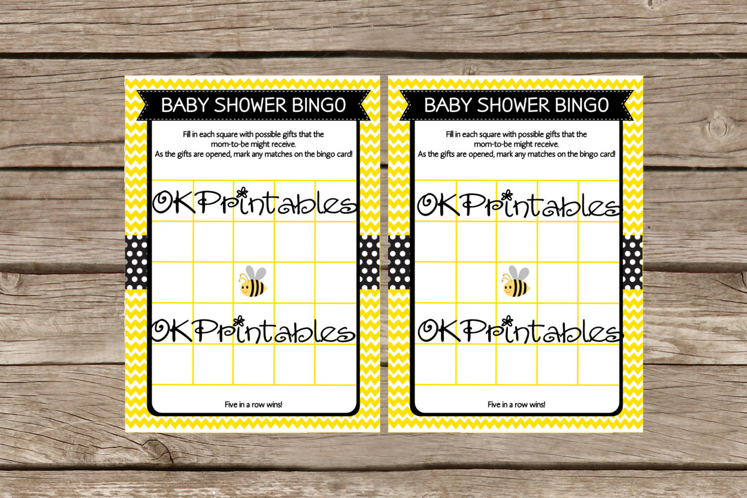 Bumble Bee Baby Shower Bingo Cards