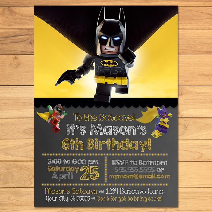 Lego Batman Birthday Invitation Chalkboard By MonksTavern
