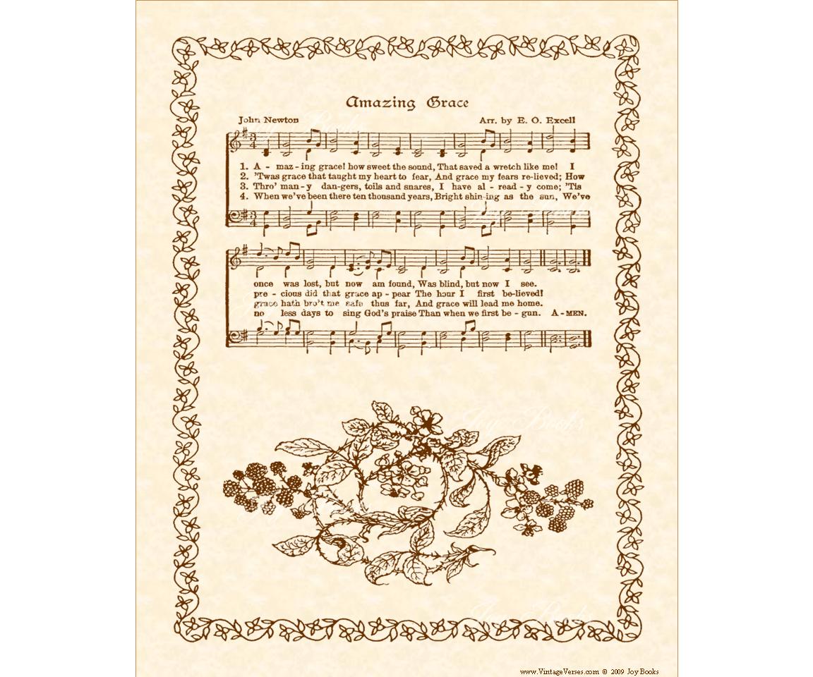 Amazing Grace Vintage Verses Sheet Music By Vintageverses