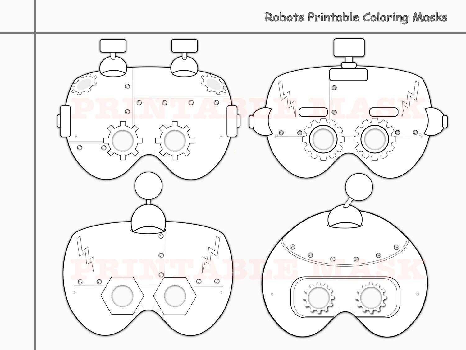 Robots Printable Coloring Masks By Holidaypartystar On Zibbet