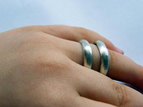Pair  wedding band ring  matte silver double ring  by NAAKIT on Zibbet Pair  wedding band ring  matte silver double ring  large  statement silver  ring