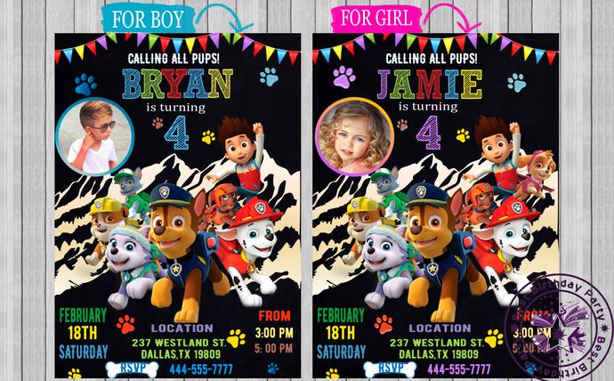 paw patrol birthday invitation paw patrol invitations paw patrol boy paw patrol girl paw patrol invitation with photo printable jpeg