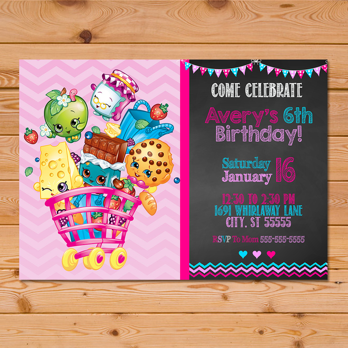 shopkins invitation chalkboard pink chevron shopkins invite shopkins birthday party shopkins party printables