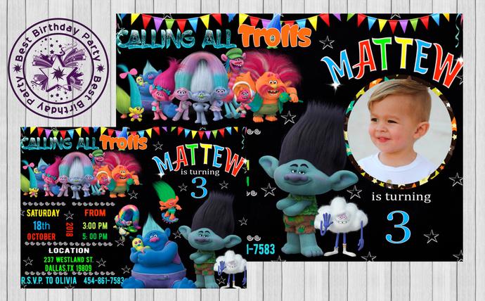 trolls boy birthday party trolls invitation trolls boy party invite boys trolls invitations with photo trolls birthday invitation jpeg
