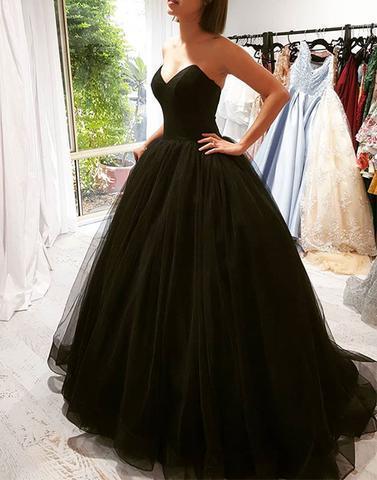 Sleeveless Black Ball Gown Prom Dress DRESS