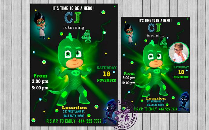 pj mask birthday invitations pj mask invitation pj mask birthday invite pj mask green gekko birthday pj mask invitations with photo