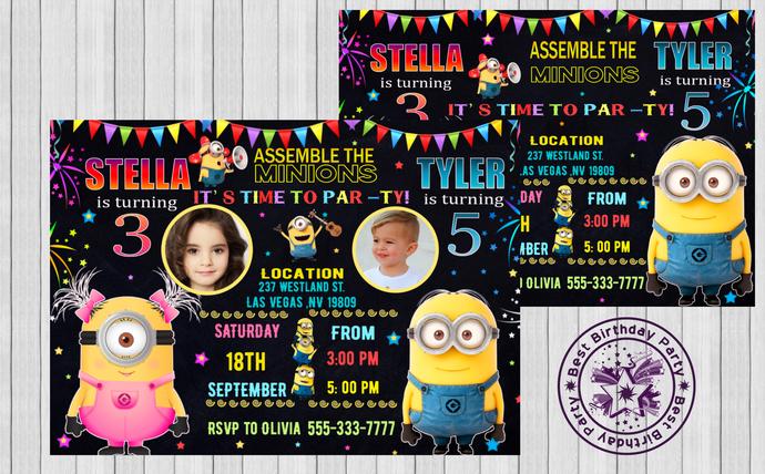minion birthday invitations minion twin birthday invitations twin minion invites minion invitations twins birthday party invitations