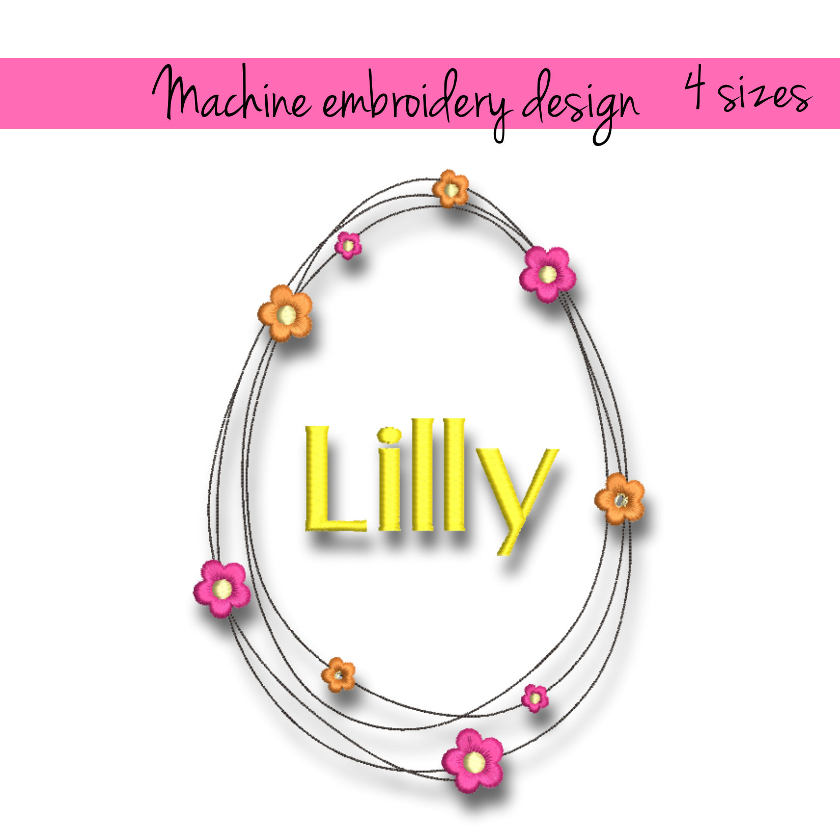 Machine Embroidery Design Easter Frame Pes By