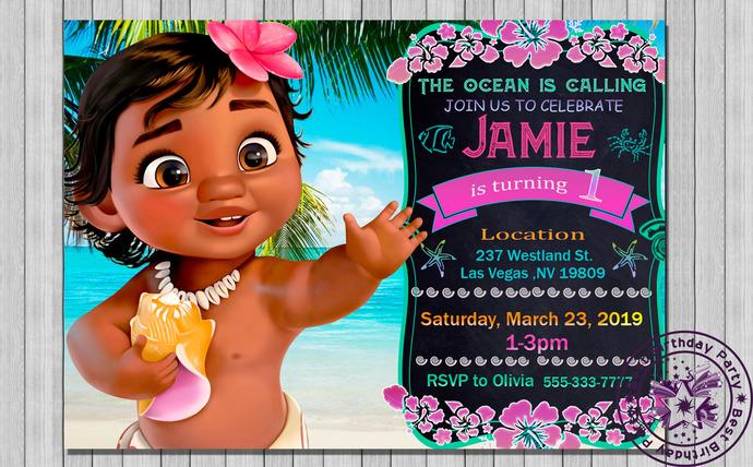 baby moana invitation baby moana birthday invitation baby moana birthday baby moana birthday party baby moana party supplies moana bday