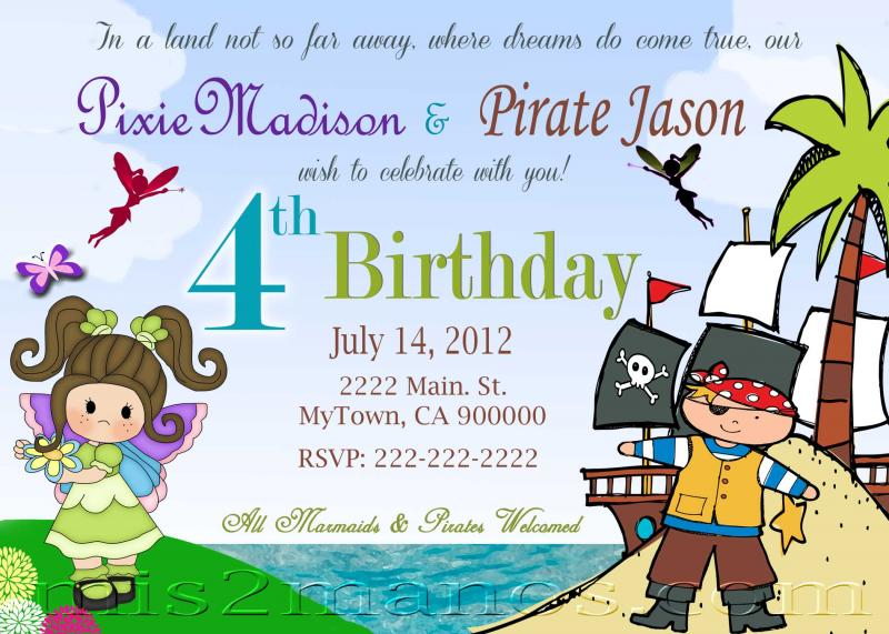 fairies and pirates birthday invitation printable invitations twins birthday party invitations print at home