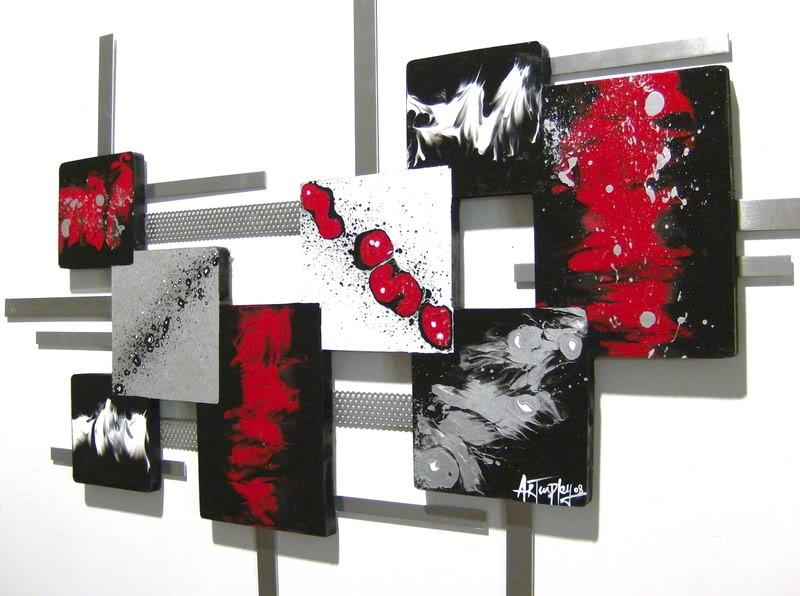 New Red,Black,White Modern Square Abstract Art By