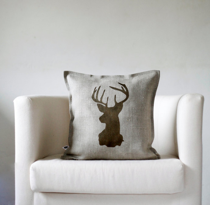 decorative pillow cover for couch pillow 14x14 inch reindeer antique bronze hand print on natural linen personalization available