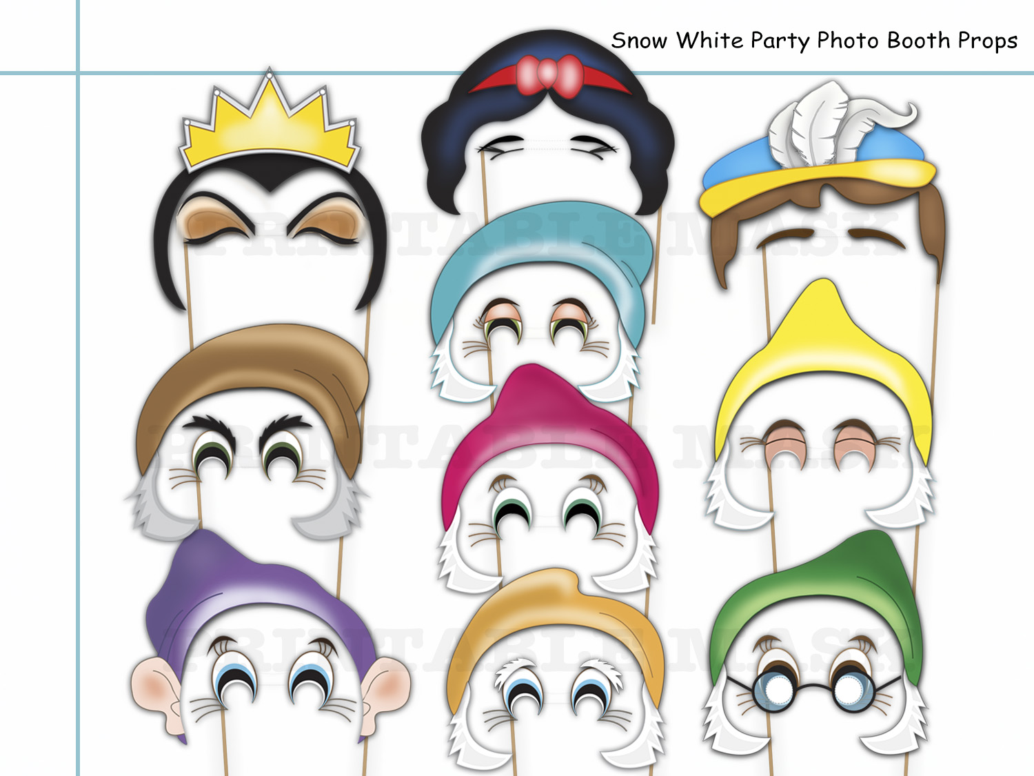 Snow White Party Photo Booth Props Set