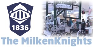 MilikenKnights logo and picture of a robot they made
