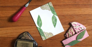 hand printed paper and rubber stamp
